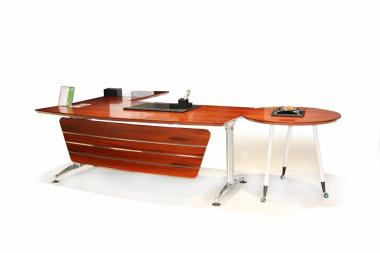 Exec.L-shaped desk with round conf.end- 280 Cms- Apple Veneer