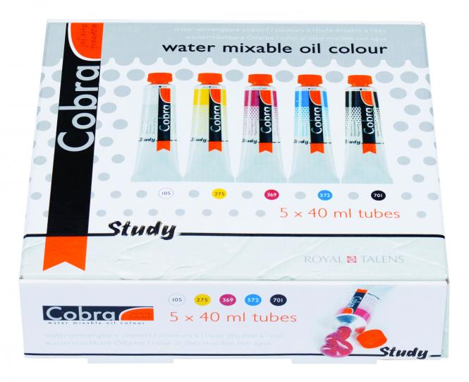 Cobra Study water mixable oil colours mixing set 5x40ml